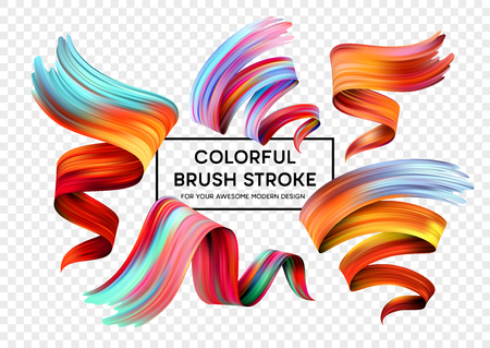 Set of colorful brush strokes.  Modern design element  Vector illustration