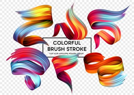 Set of colorful brush strokes. Modern design element  Vector illustration Illustration