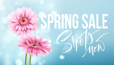 Pink gerbera daisies on a blue bokeh background. Spring sale lettering  Vector illustration 向量圖像