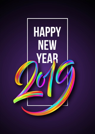 2019 New Year of a colorful brushstroke oil or acrylic paint lettering calligraphy design element. Vector illustration 矢量图像