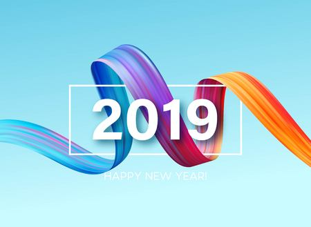 2019 New Year of a colorful brushstroke oil or acrylic paint design element. Vector illustration Иллюстрация