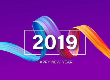 2019 New Year of a colorful brushstroke oil or acrylic paint design element. Vector illustration Ilustração