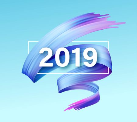 2019 New Year of a colorful brushstroke oil or acrylic paint design element. Vector illustration Foto de archivo - 101793276