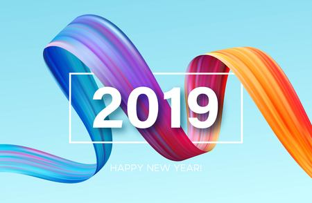 2019 New Year of a colorful brushstroke oil or acrylic paint design element. Vector illustration Фото со стока