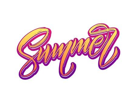 Summer lettering. Isolated handwriting on white background. Vector illustration Stock Illustration - 101793414