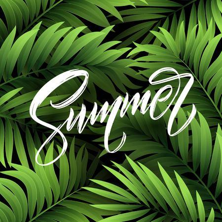 Summer lettering on palm leaf background. Vector illustration Stok Fotoğraf