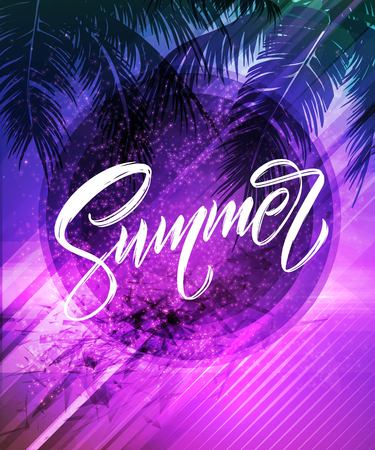 Summer lettering. Palm leaf and sea background. Vector illustration