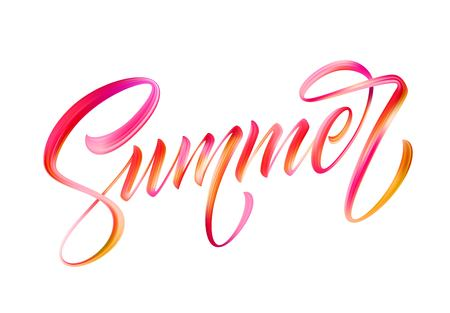 Summer calligraphic lettering. Color brush oil or acrylic paint. Vector illustration