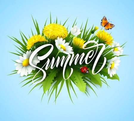 Summer handwriting lettering with summer flower. Vector illustration