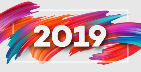 2019 New Year on the background of a colorful brushstroke oil or acrylic paint design element. Vector illustration Banco de Imagens