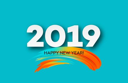 2019 New Year on the background of a colorful brushstroke oil or acrylic paint design element. Stock Illustratie