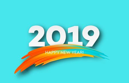 2019 New Year on the background of a colorful brushstroke oil or acrylic paint design element. Иллюстрация