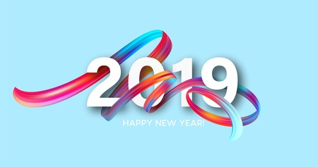 2019 New Year on the background of a colorful brushstroke oil or acrylic paint design element. Vector illustration EPS10 Vetores