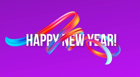 2019 New Year on the background of a colorful brushstroke oil or acrylic paint design element. Vector illustration EPS10 Archivio Fotografico - 107032918