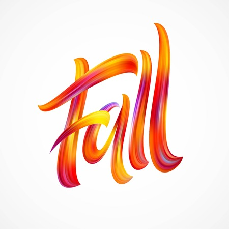 Fall Modern colorful flow lettering. Vector illustration EPS10 Vettoriali