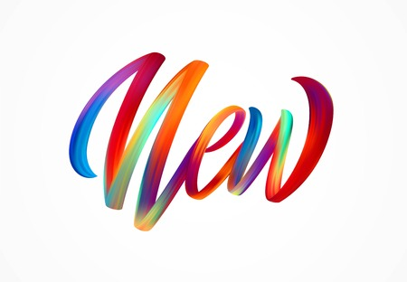NEW word-sign, modern colorful flow lettering. Vector illustration EPS10 Çizim
