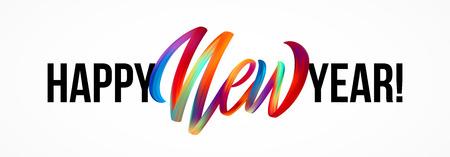 Feliz año nuevo letras en el fondo con una colorida pincelada de aceite o elemento de diseño de pintura acrílica.