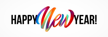 Happy New Year lettering on the background with a colorful brushstroke oil or acrylic paint design element.