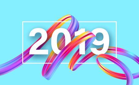 2019 Nieuwjaar op de achtergrond van een kleurrijk penseelstreekolie of acrylverf ontwerpelement. Vector illustratie Eps10