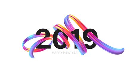 2019 New Year on the background of a colorful brushstroke oil or acrylic paint design element. Vector illustration Stok Fotoğraf