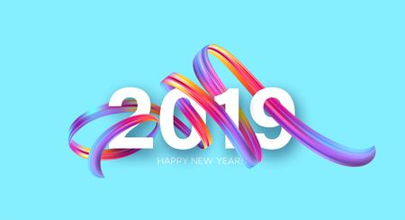 2019 New Year on the background of a colorful brushstroke oil or acrylic paint design element. Vector illustration 免版税图像