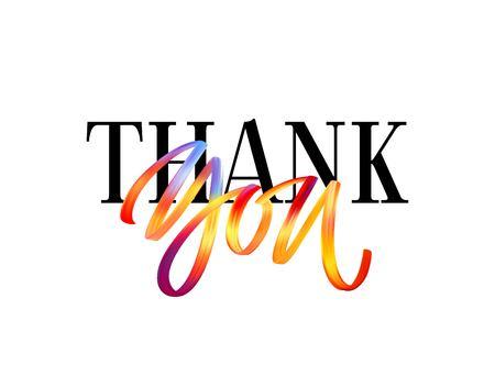 Ręcznie rysowane kolor pędzla cytat napis dziękuję. Ilustracja wektorowa Eps10