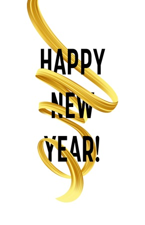 Happy New Year with golden serpentine streamers. Vector illustration EPS10 Illusztráció