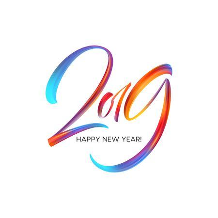 Nouvel an 2019 sur le fond d'une huile de coup de pinceau coloré ou d'un élément de conception de peinture acrylique. Illustration vectorielle EPS10