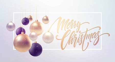 Christmas background with baubles and place for text.