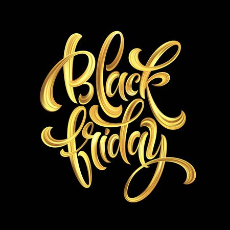 Gold Black Friday Sale calligrapy lettering. Vector illustration EPS10 Ilustracja