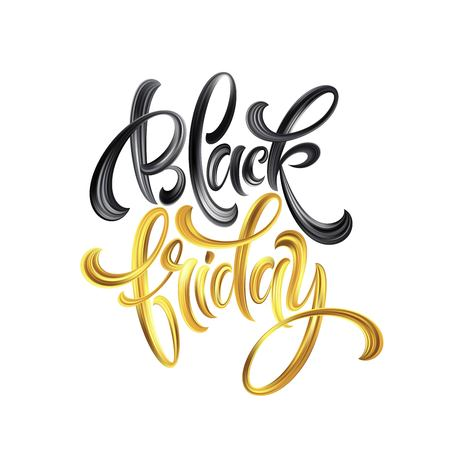 Gold Black Friday Sale calligrapy lettering. Vector illustration EPS10 Иллюстрация