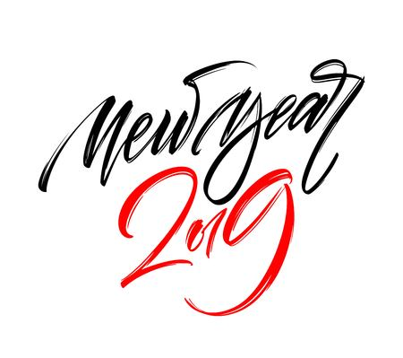 Happy New Year 2019 Hand writing Lettering Design. Stock fotó