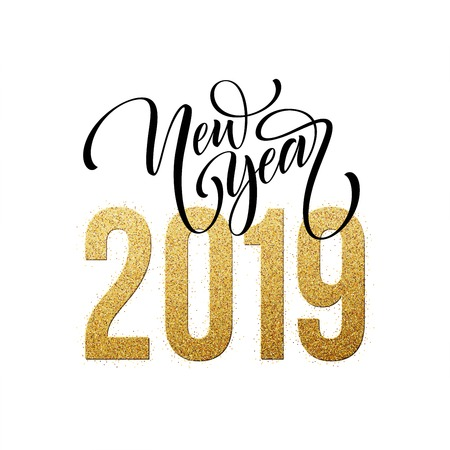 2019 Happy New Year. Beautiful Handwritten modern brush lettering, calligraphy. Stock Photo