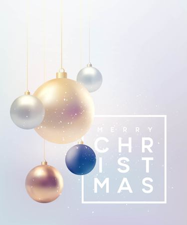 Christmas background with baubles and place for text. Vector Illustration EPS10