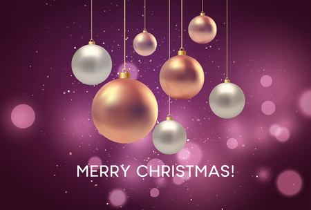 Christmas blurred pink background with bauble. Vector illustration EPS10 Ilustracja