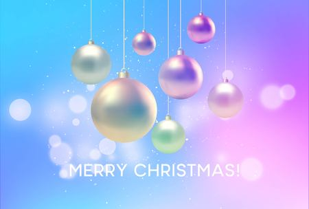Christmas blurred pink and blue background with bauble. Vector illustration EPS10