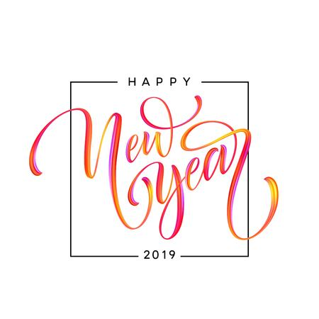 2019 New Year of a colorful brushstroke oil or acrylic paint design element. Vector illustration EPS10 Vetores
