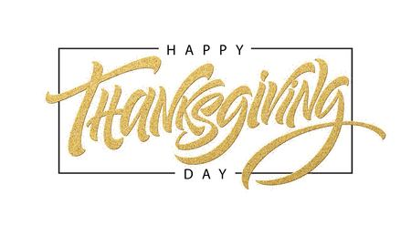 Thanksgiving typography for greeting cards and poster. Golden Calligraphy lettering.