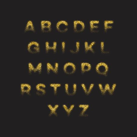 Golden glitter alphabet font set. Vector illustration EPS10