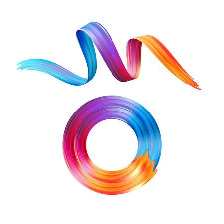Aceite de pincelada de color o elemento de diseño de pintura acrílica. Ilustración de vector EPS10 Ilustración de vector
