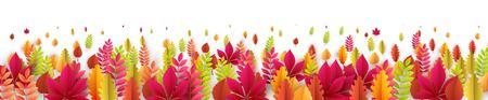 Bannière d'automne avec des feuilles d'automne. Illustration vectorielle EPS10