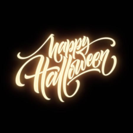 Glow in the dark background Happy halloween lettering. Vector illustration EPS10