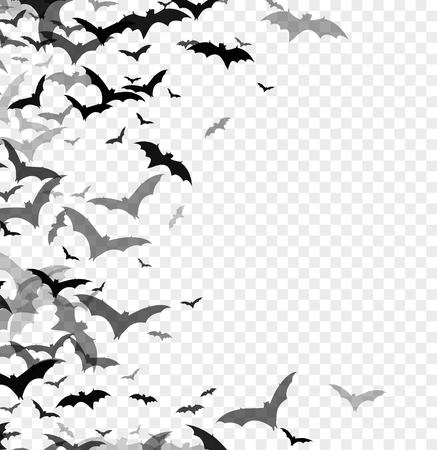 Black silhouette of bats isolated on transparent background. Halloween traditional design element. Vector illustration EPS10 Vettoriali