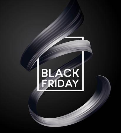 Black friday sale banner with flow color paint ribbon. Vector illustration EPS10 Illustration