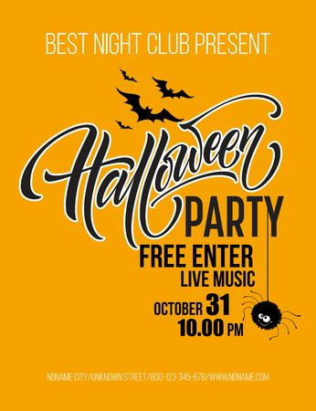 Halloween party poster with flying bats and yellow moon Ilustração