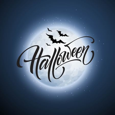 Halloween glowing night background with the moon, bats. Calligraphy, Lettering. Vector illustration EPS10