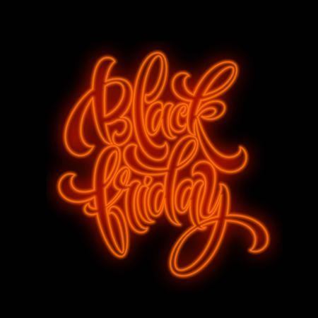 Black friday sale Luminous light lettering on dark background. Glow effect. Vector illustration EPS10