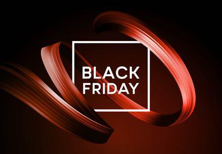 Banner de venta de viernes negro con cinta de pintura de color de flujo. Ilustración de vector EPS10