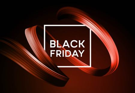 Black friday sale banner with flow color paint ribbon. Vector illustration EPS10 Иллюстрация