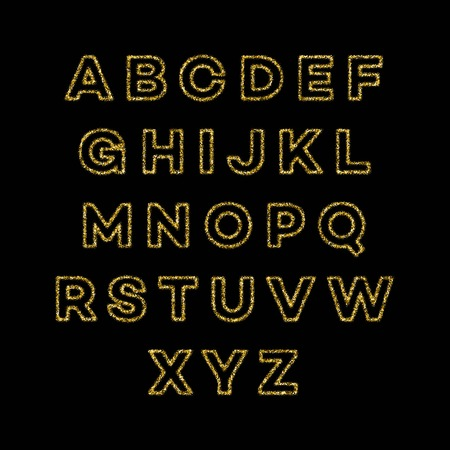 Golden glitter alphabet font set. Vector illustration EPS10